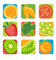 Abstract fruit and vegetable icons vector