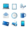 Blue business icons set vector