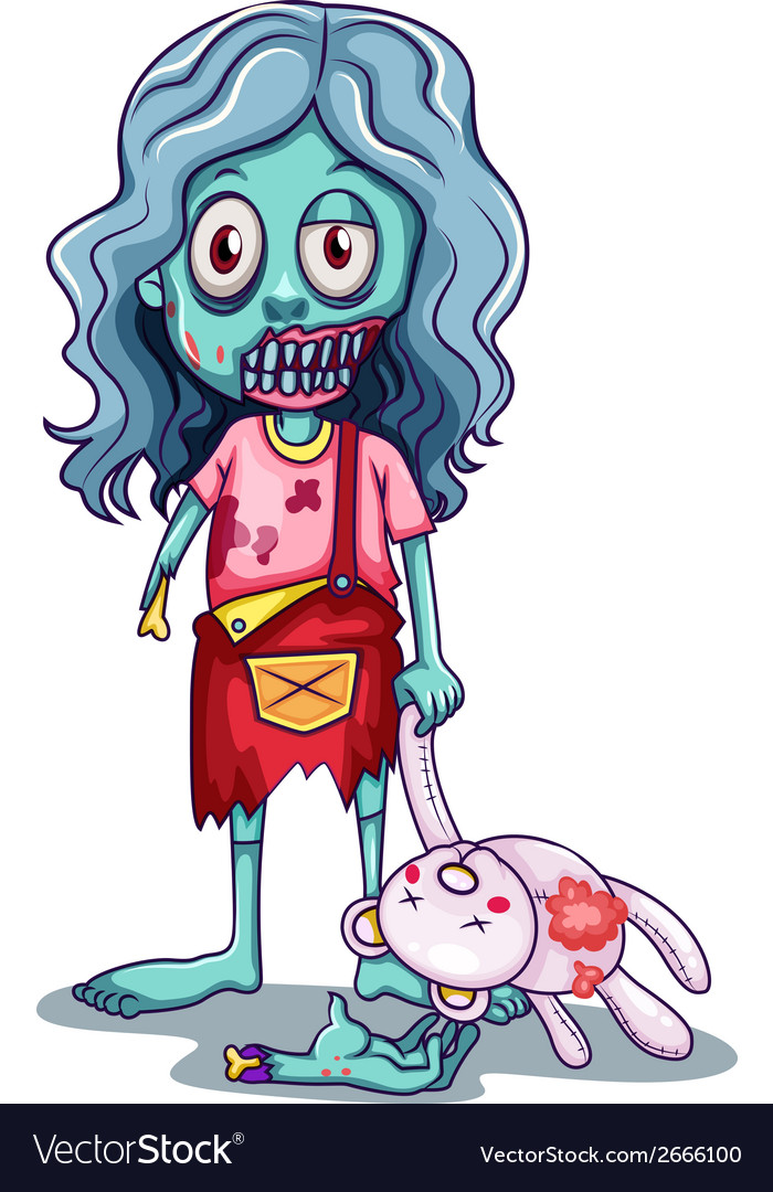 A young female zombie with a doll vector | Price: 1 Credit (USD $1)