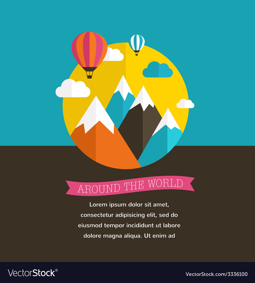 Air balloon sun and mountain backgrounds vector | Price: 1 Credit (USD $1)