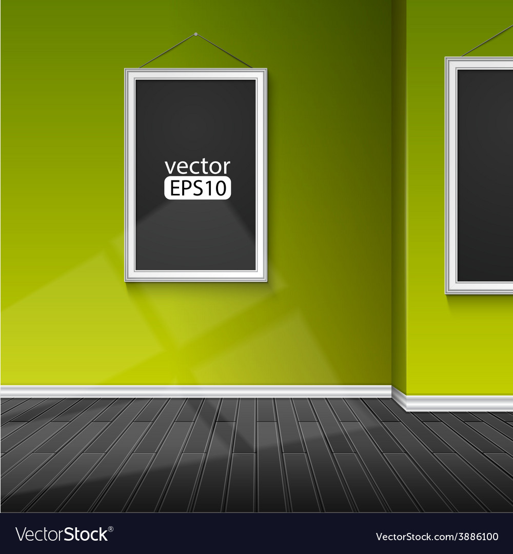 Blank paper frame on green wall vector | Price: 1 Credit (USD $1)