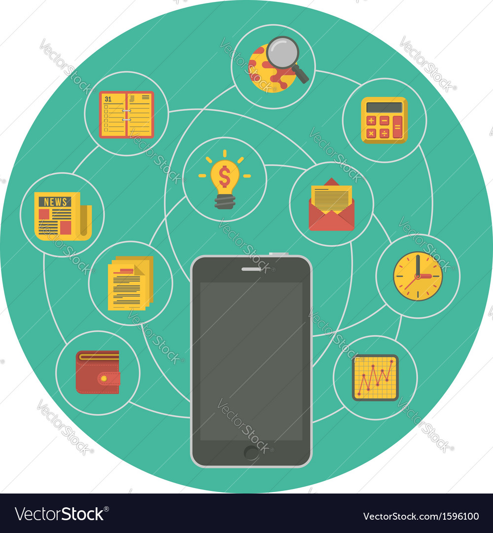 Business mobility concept in green circle vector | Price: 1 Credit (USD $1)
