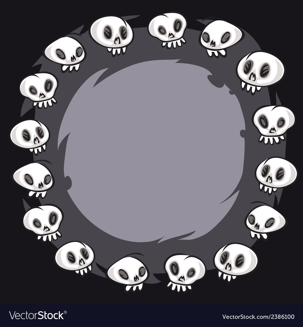 Cartoon skulls round frame vector | Price: 1 Credit (USD $1)