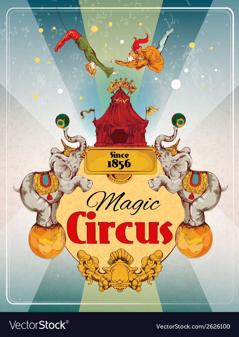 Circus retro poster vector | Price: 3 Credit (USD $3)