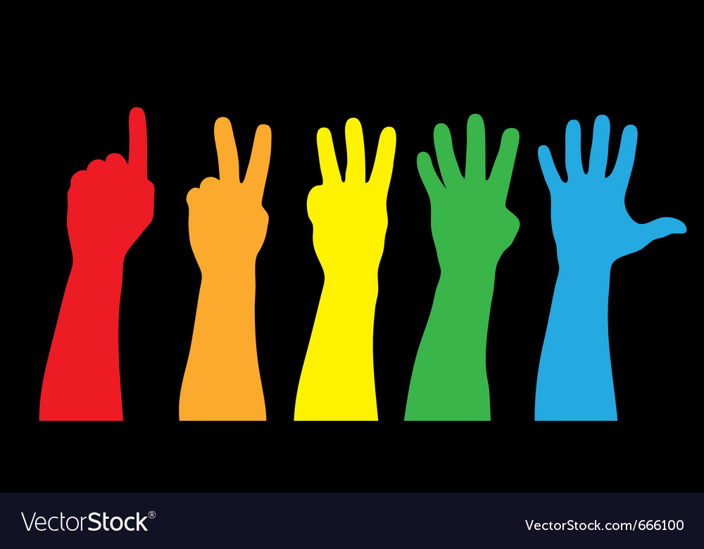 Color hands counting vector | Price: 1 Credit (USD $1)