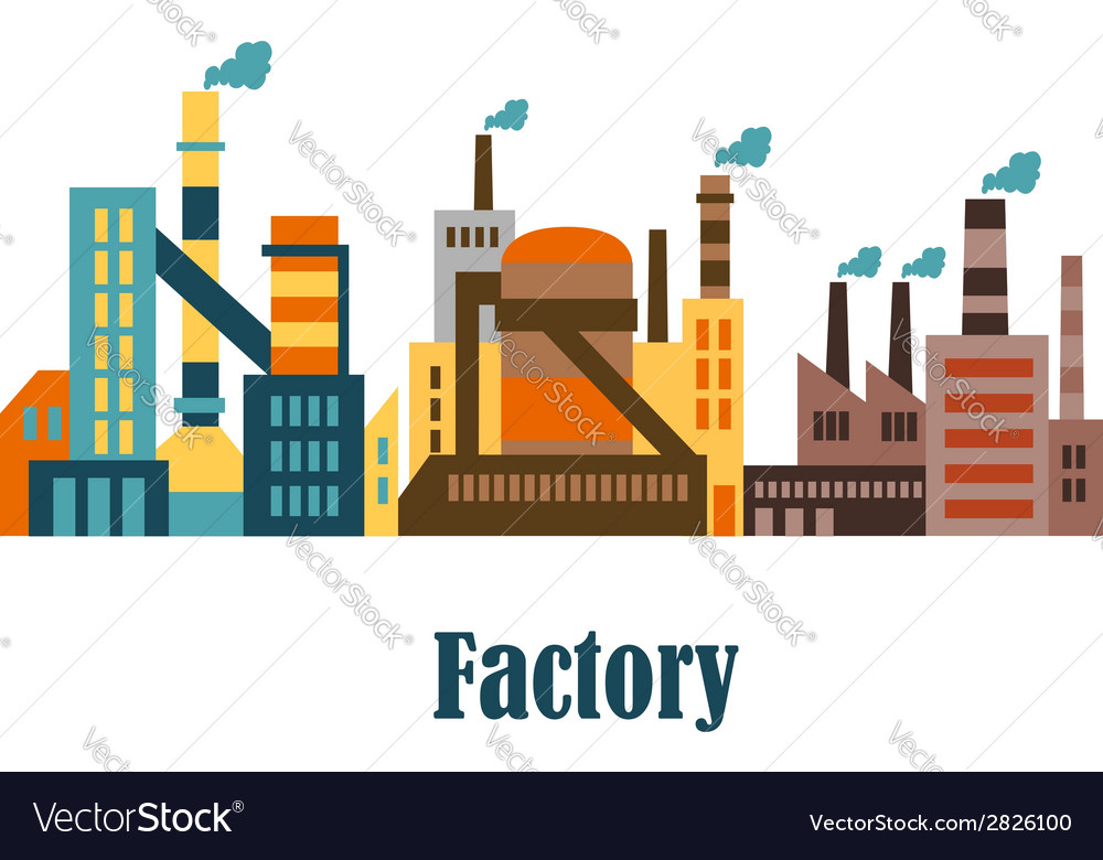 Factory and plant buildings in flat style vector | Price: 1 Credit (USD $1)