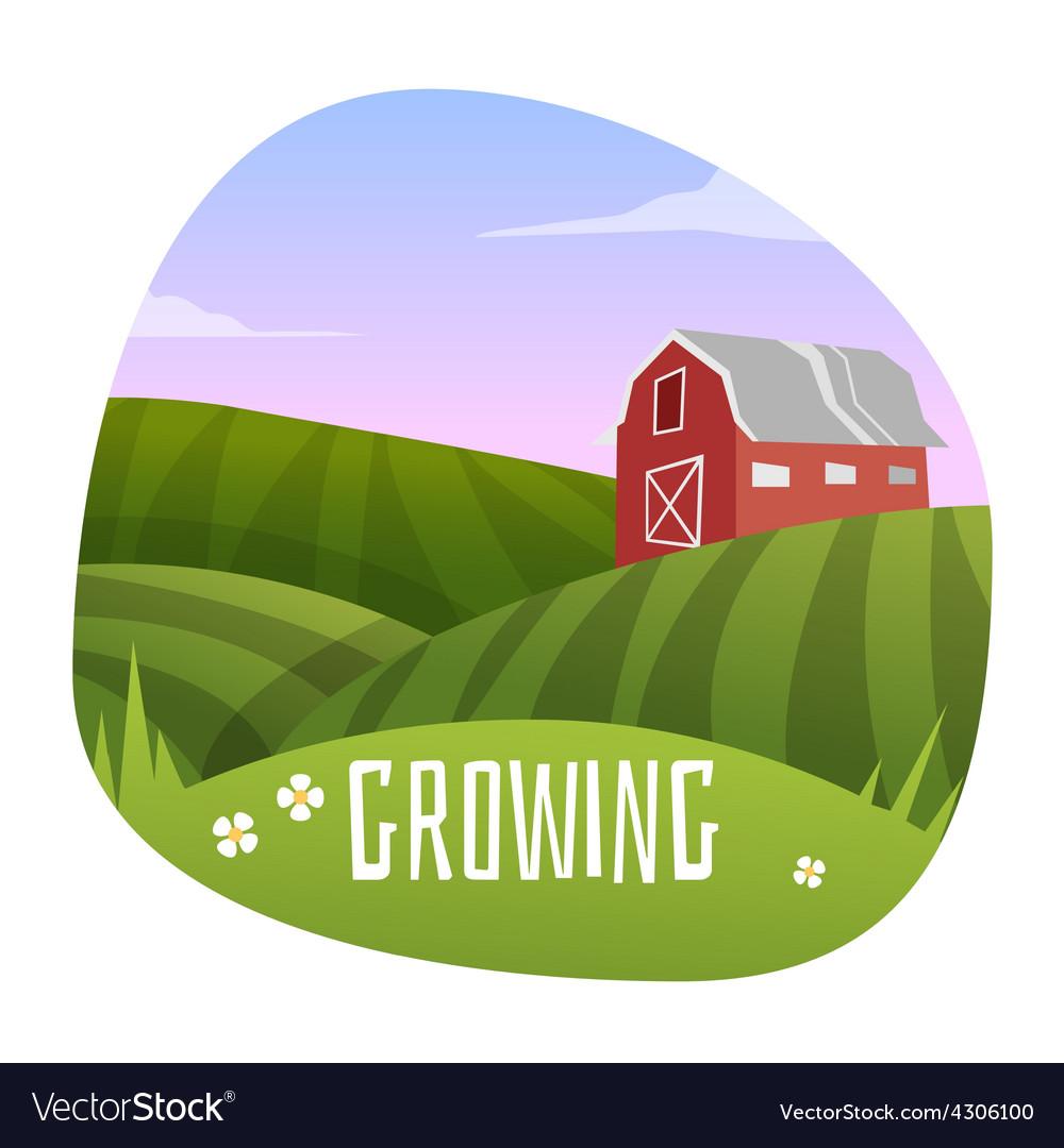 Farm landscape vector | Price: 3 Credit (USD $3)