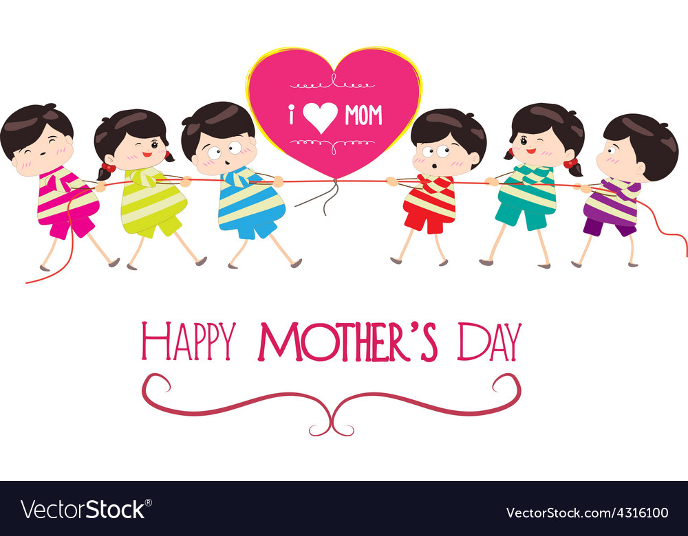 Happy mother day with kid funny vector   Price: 1 Credit (USD $1)