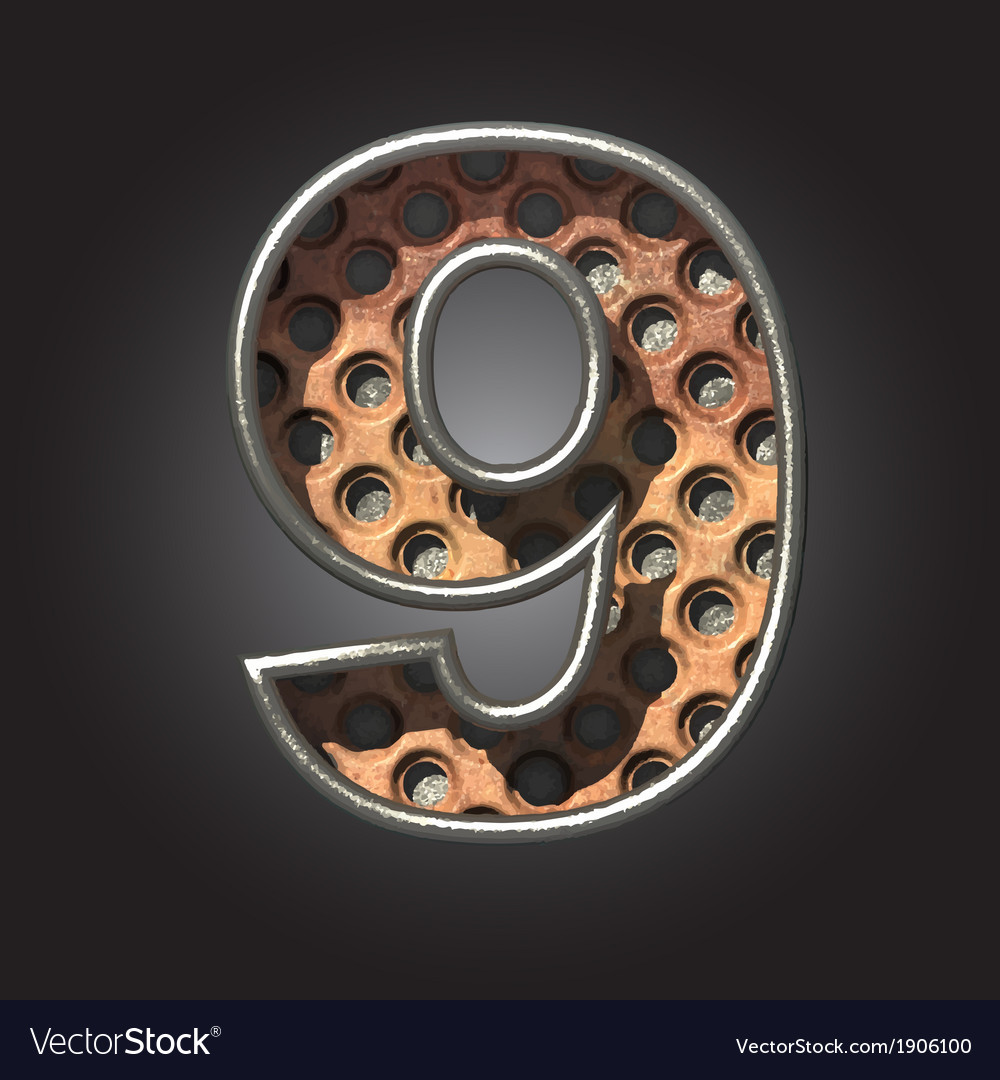 Old metal letter 9 vector | Price: 1 Credit (USD $1)