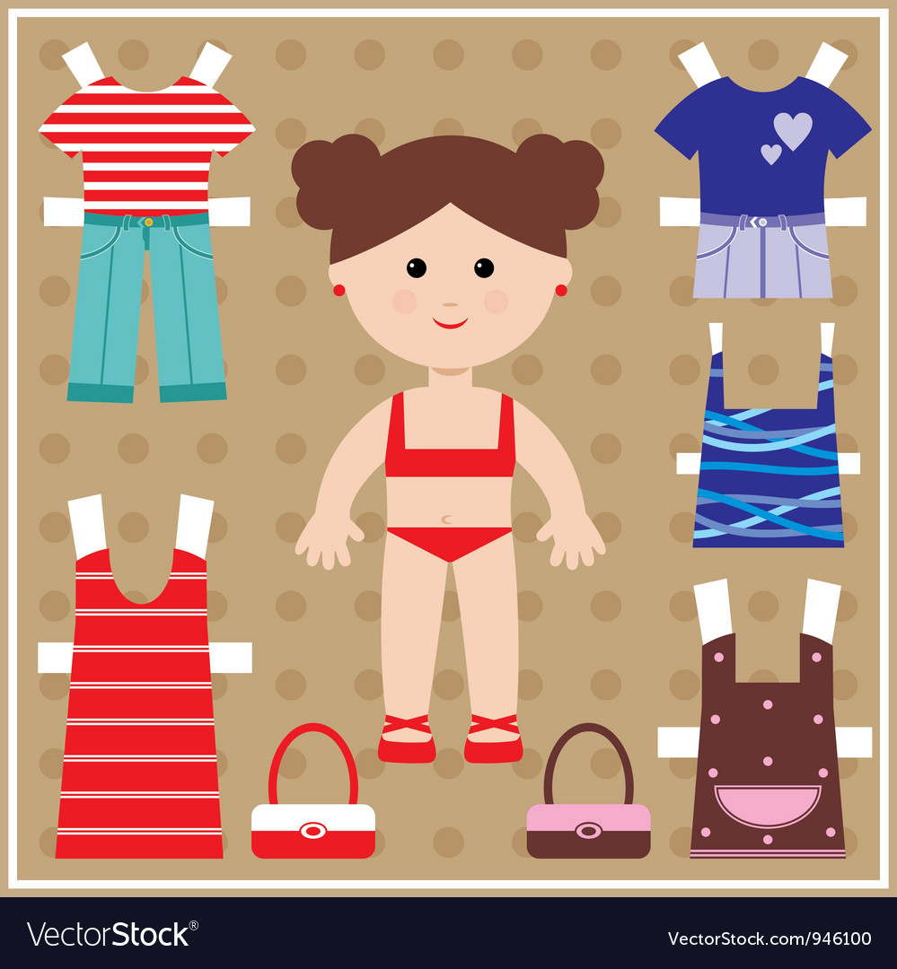 Paper doll with clothes set vector | Price: 1 Credit (USD $1)