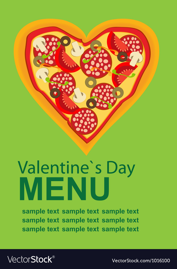 Pizza menu template on valentines day vector | Price: 1 Credit (USD $1)