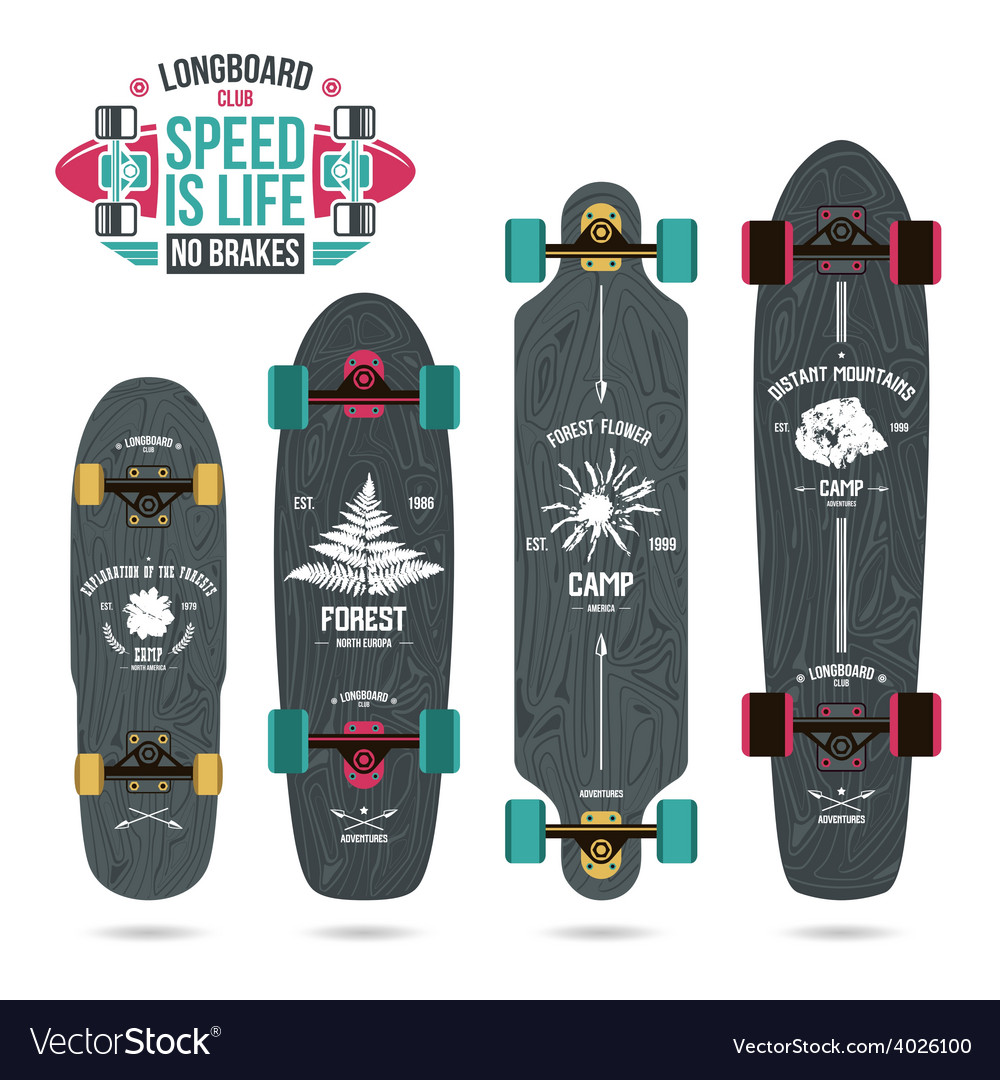 Set of camp emblems on longboard vector | Price: 1 Credit (USD $1)
