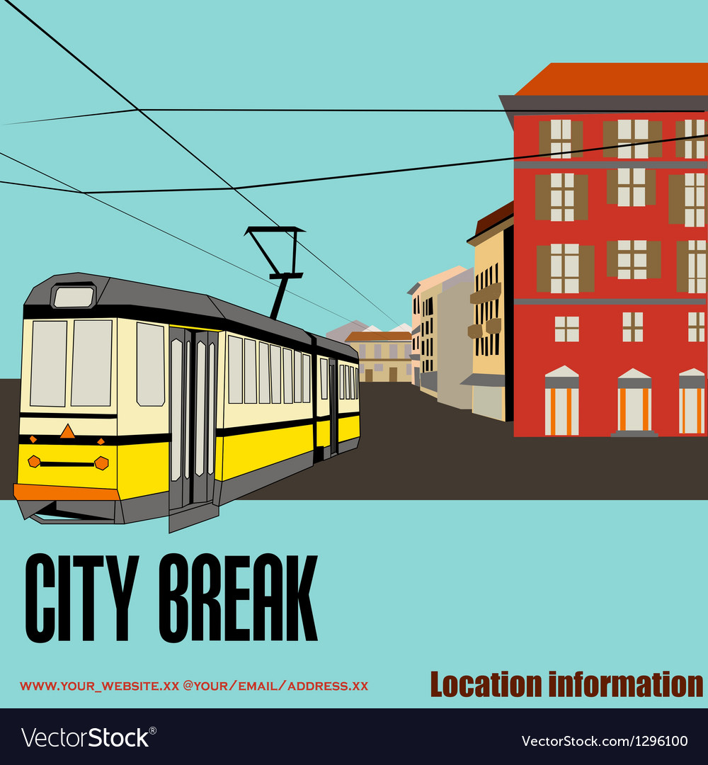 Tram in the city vector | Price: 1 Credit (USD $1)