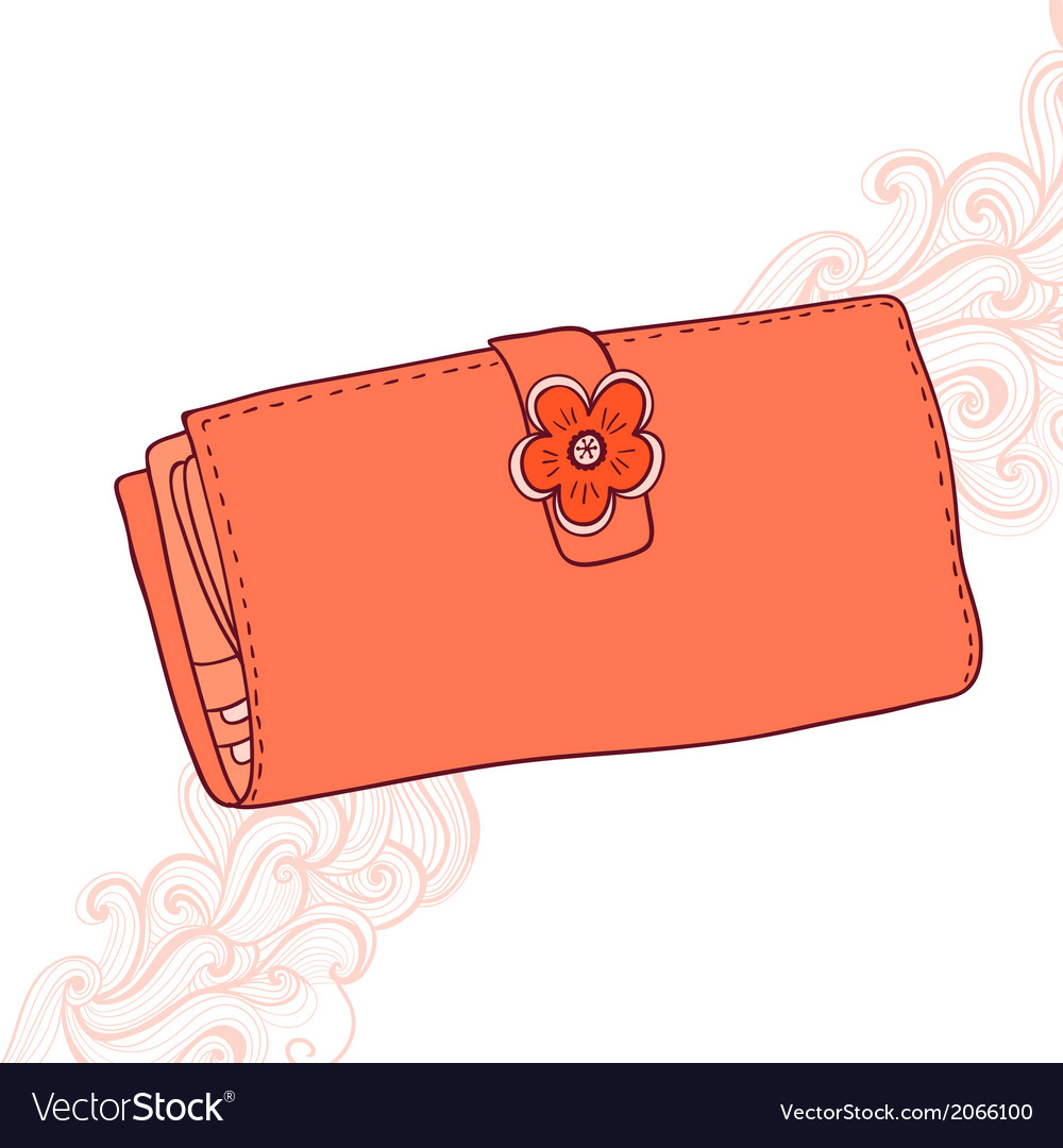 Wallet with flower and abstract grange backgroun vector | Price: 1 Credit (USD $1)
