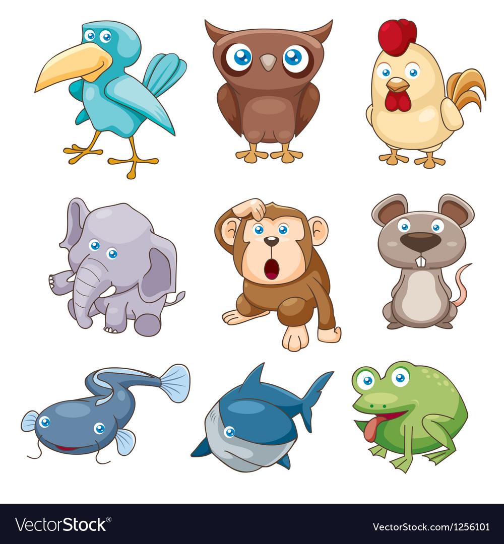 Animals set color vector | Price: 3 Credit (USD $3)