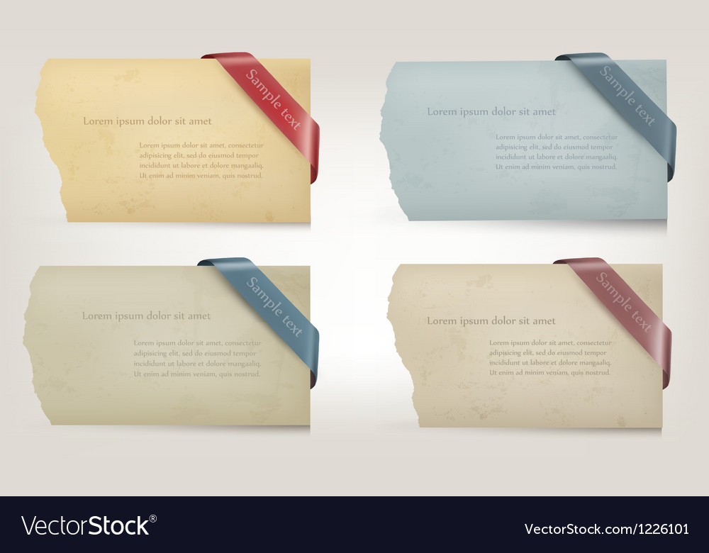 Collection of old paper banners with ribbons vector | Price: 1 Credit (USD $1)