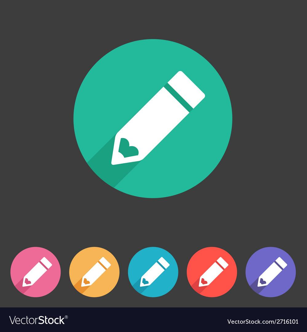 Flat pencil icon colorful icon vector | Price: 1 Credit (USD $1)