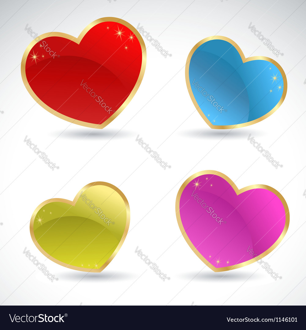 Glamour sparkling valentine glass colorful hearts vector | Price: 1 Credit (USD $1)