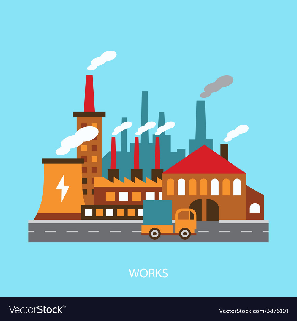 Industrial power plant in flat vector | Price: 1 Credit (USD $1)