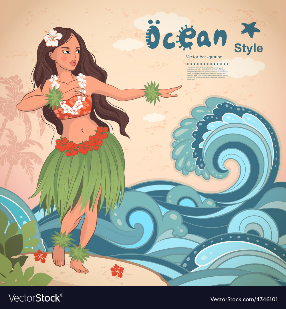Retro style hawaiian beautiful hula girl vector | Price: 3 Credit (USD $3)