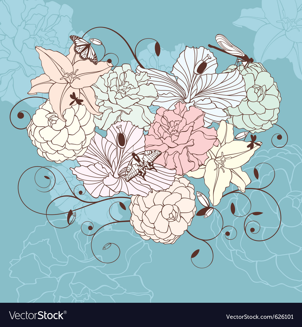 Romantic floral heart vector | Price: 1 Credit (USD $1)