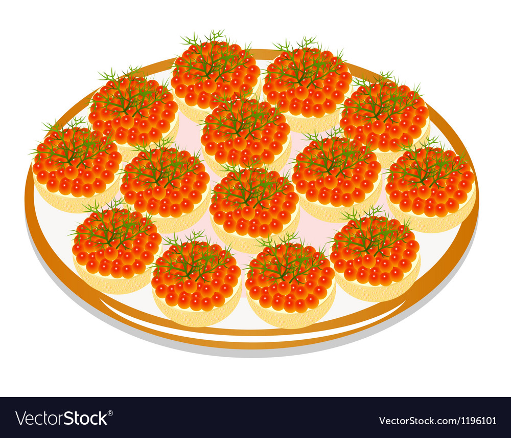 Sandwiches with eggs and butter and dill on a plat vector | Price: 1 Credit (USD $1)