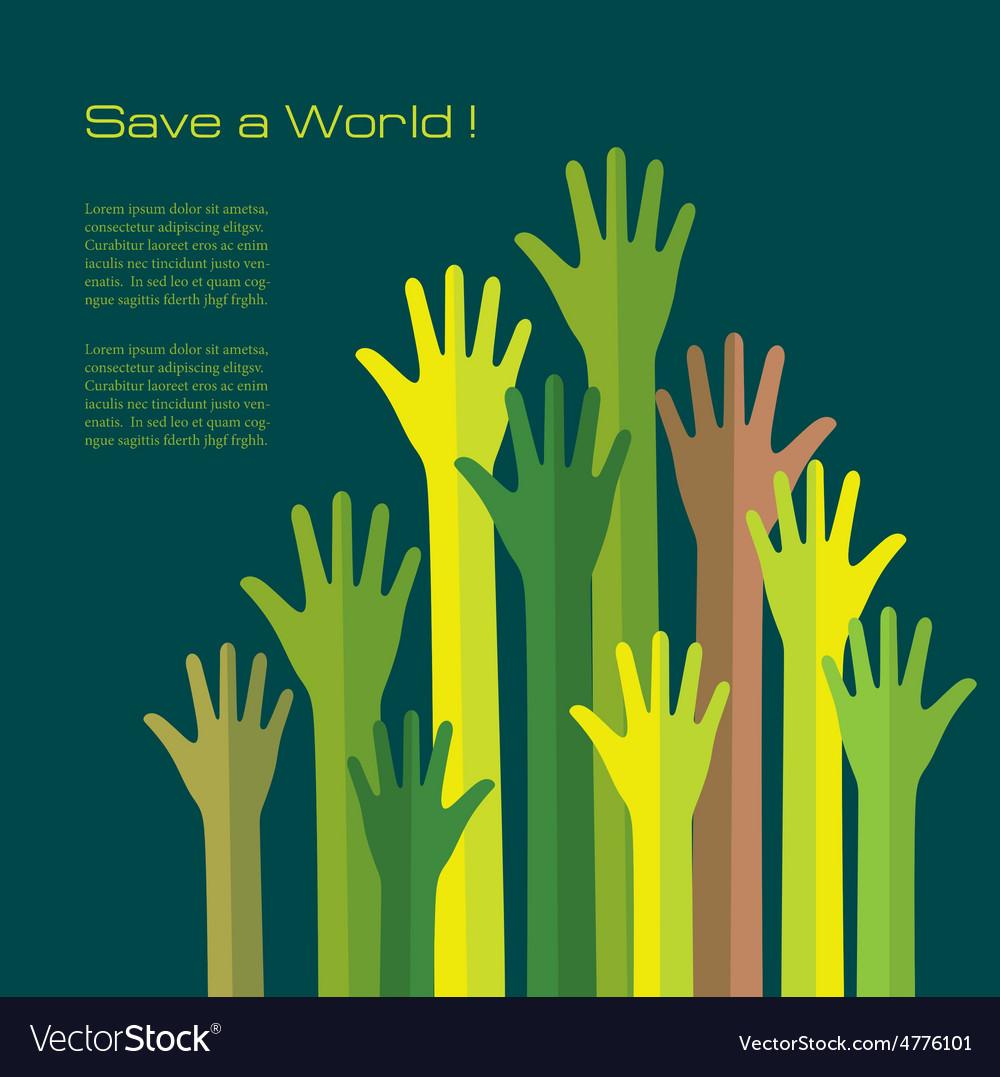 Save a world conceptual background vector