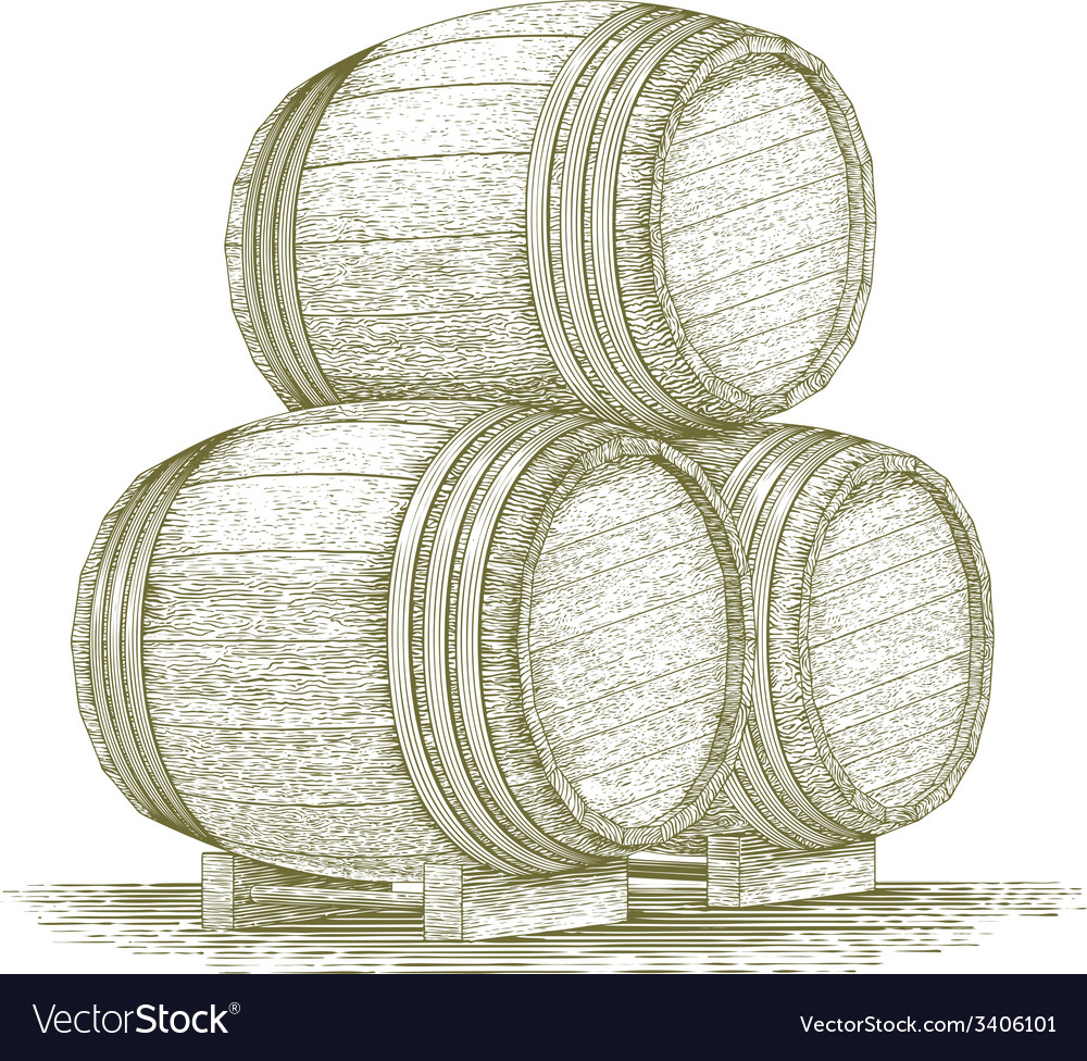 Woodcut whiskey barrel stack vector | Price: 1 Credit (USD $1)