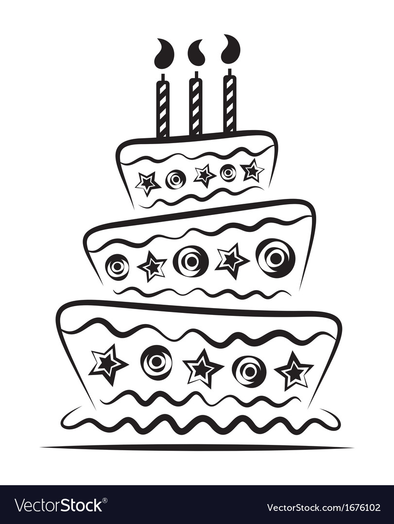 Birthday cake on white background vector | Price: 1 Credit (USD $1)
