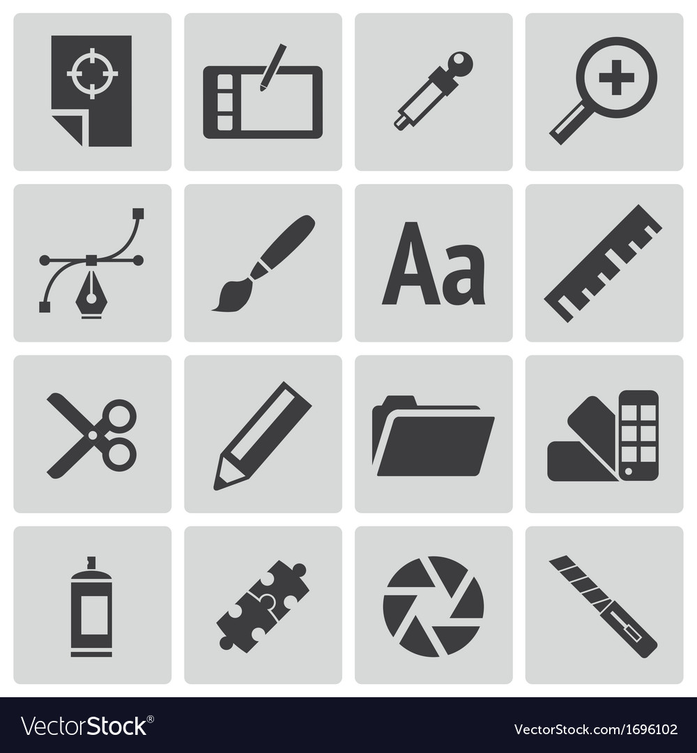 Black graphic design icons set vector | Price: 1 Credit (USD $1)