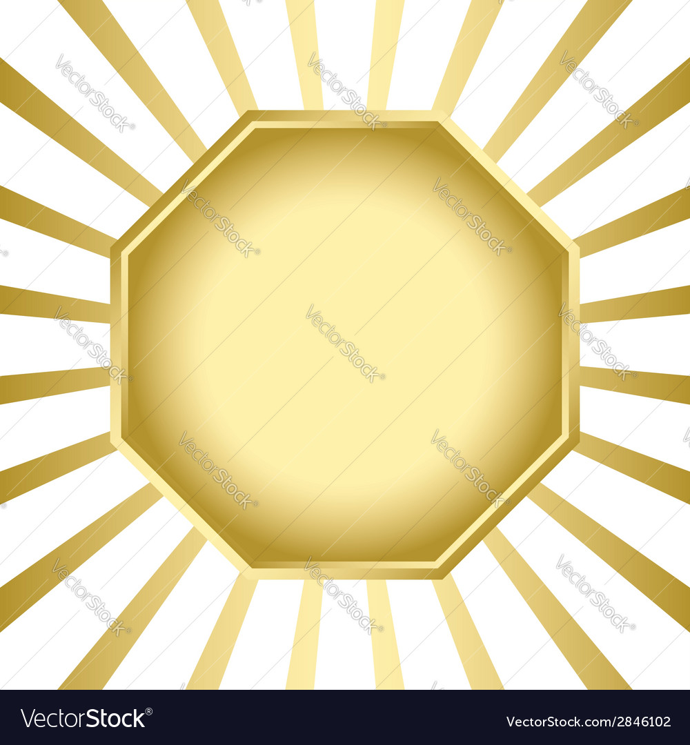 Gold frame on background with rays vector | Price: 1 Credit (USD $1)