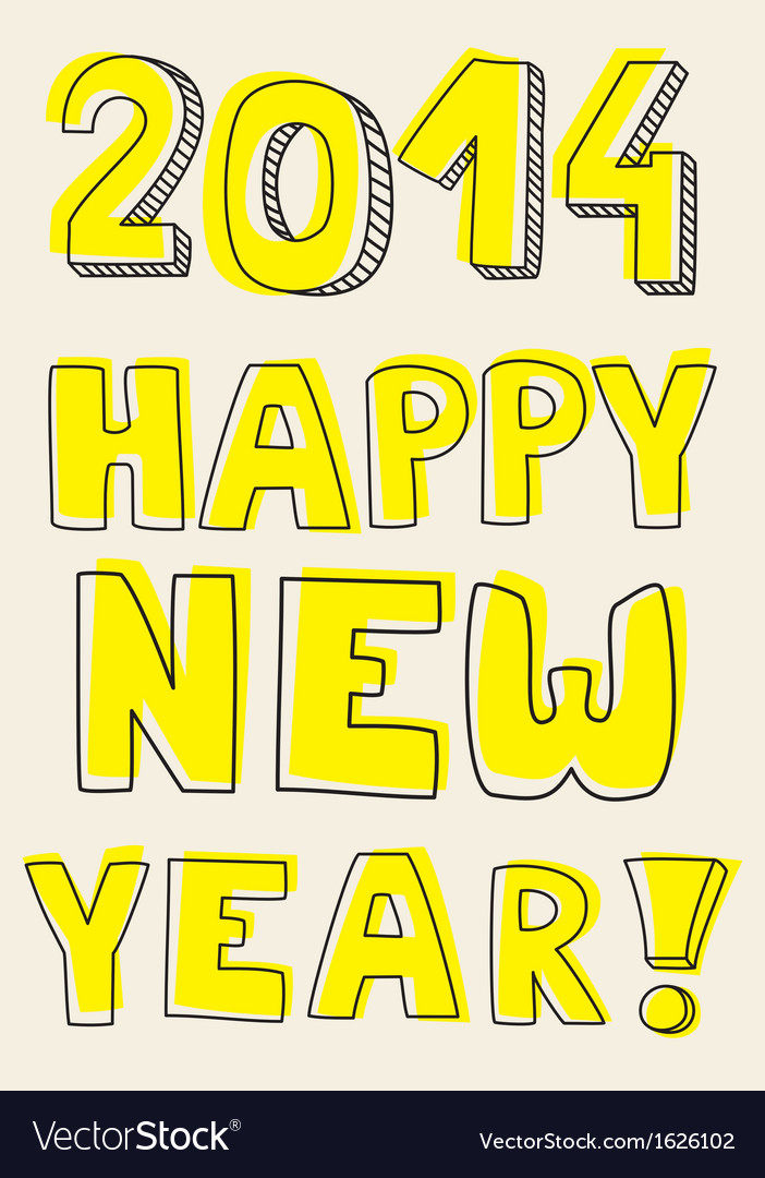 Happy new year 2014 yellow hand drawn wishes vector | Price: 1 Credit (USD $1)