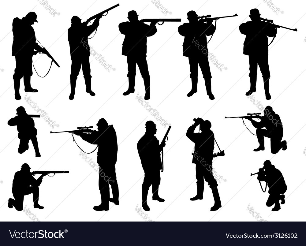 Hunters silhouettes vector | Price: 1 Credit (USD $1)