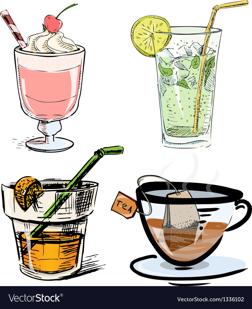 Non alcoholic drinks collection vector | Price: 3 Credit (USD $3)