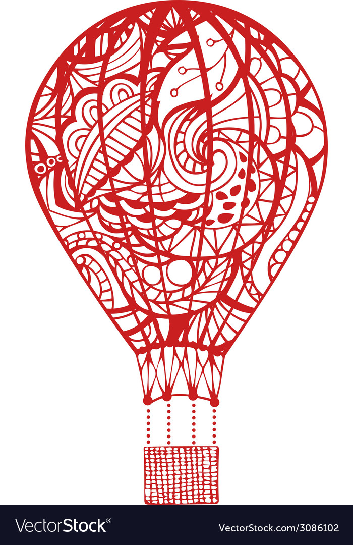 Red hot air balloon isolated on white background vector | Price: 1 Credit (USD $1)