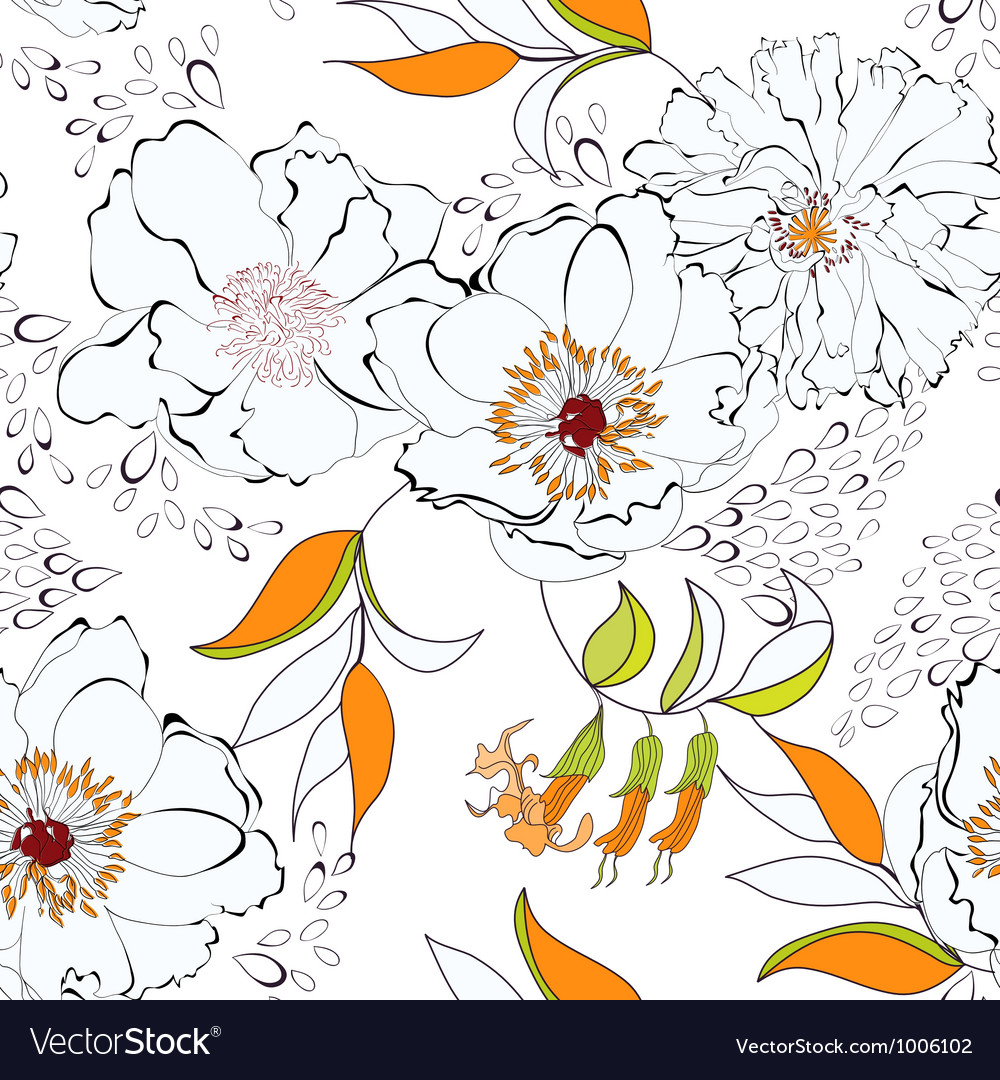 Seam flow23sentseamless background with flowers vector | Price: 1 Credit (USD $1)