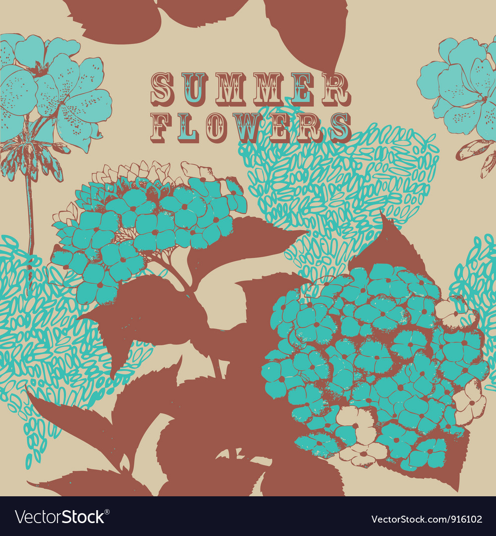 Seamless background with blue flowers vector | Price: 1 Credit (USD $1)