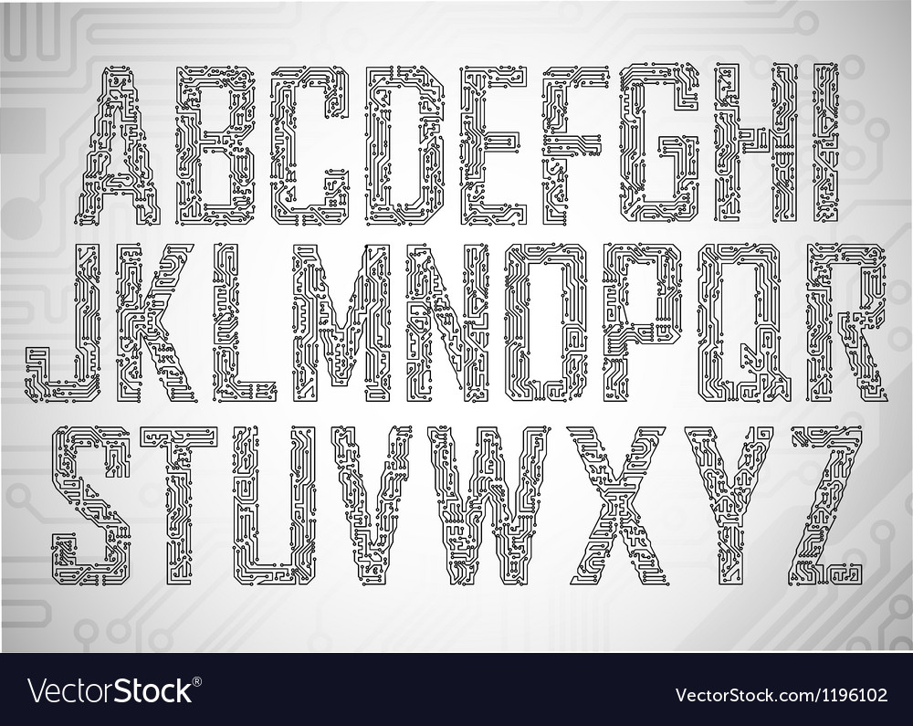 Set of circuit board style letters vector | Price: 1 Credit (USD $1)