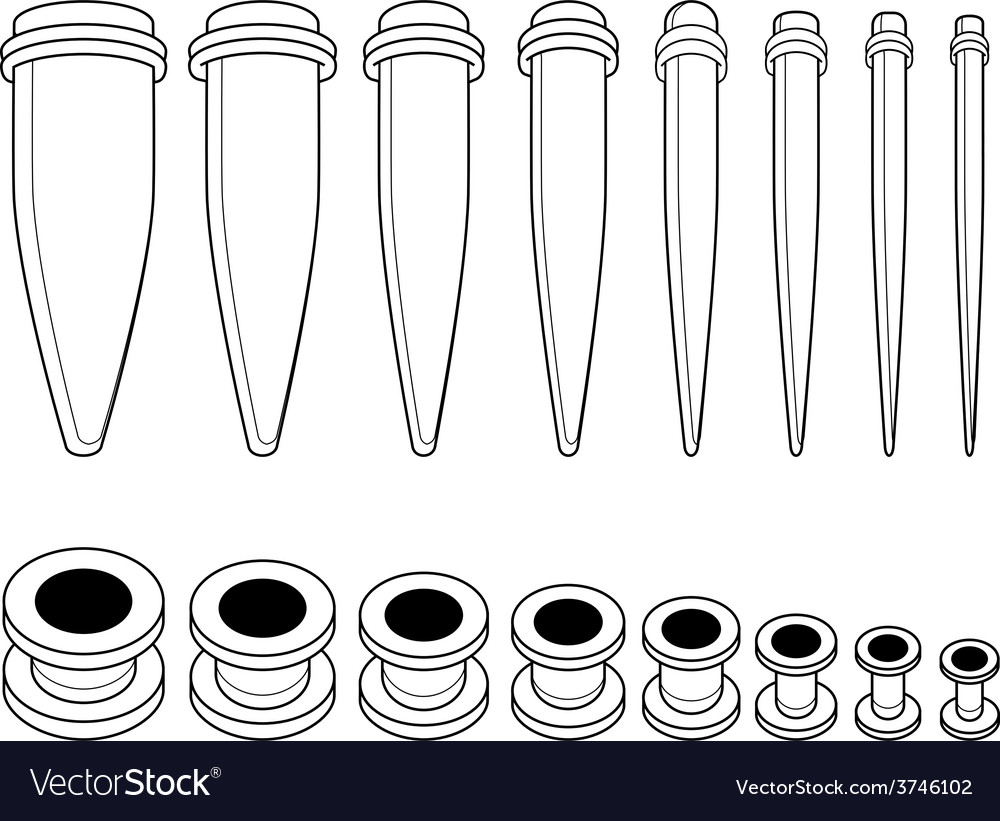 Set of ear tunnels and taper starters kit contour vector | Price: 1 Credit (USD $1)