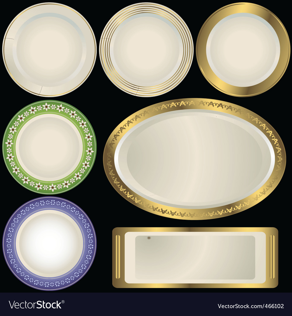 White plates with ornament vector | Price: 1 Credit (USD $1)