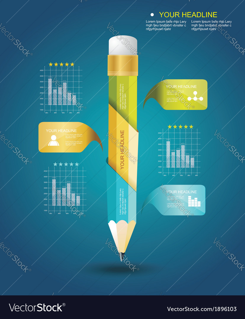 Business design template with pencil ribbon vector | Price: 1 Credit (USD $1)