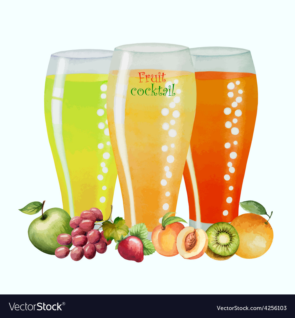 Fruit drink in glasses vector | Price: 1 Credit (USD $1)