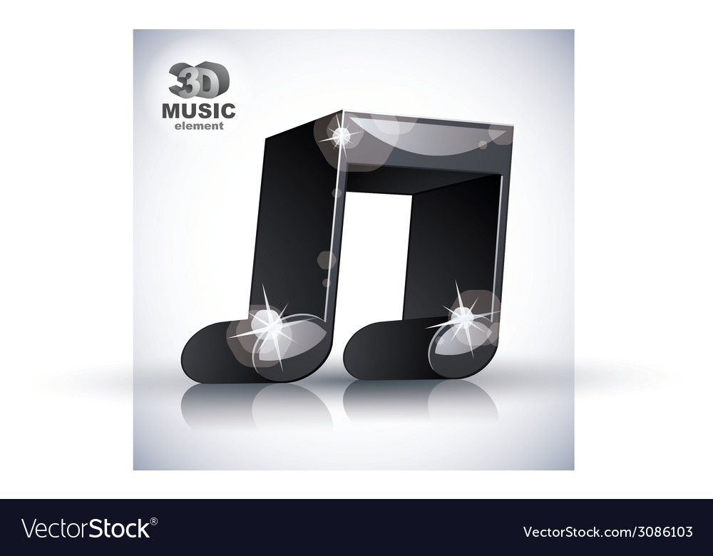 Funky double musical note 3d modern style icon vector | Price: 1 Credit (USD $1)