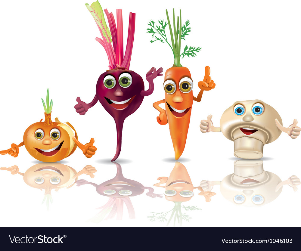 Funny vegetables onion beet carrot mushroom vector | Price: 3 Credit (USD $3)