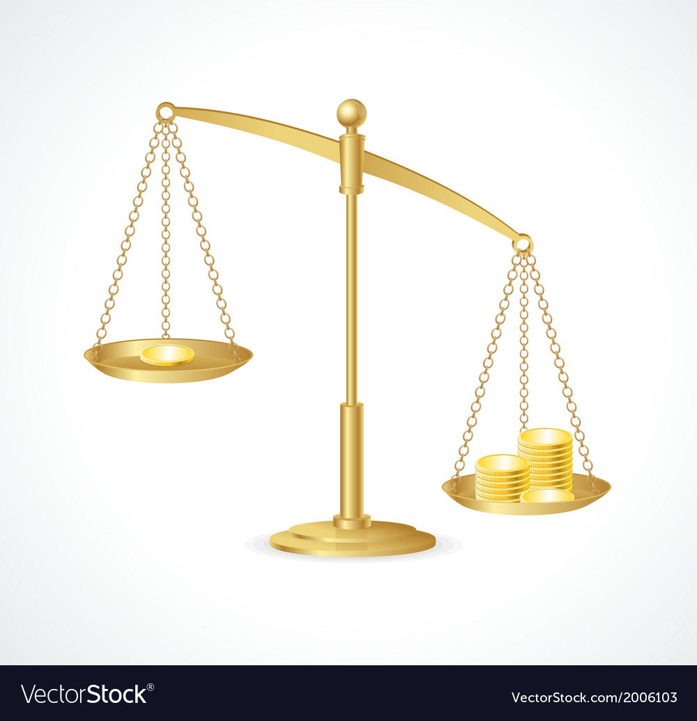 Gold justice scales isolated on white vector | Price: 1 Credit (USD $1)
