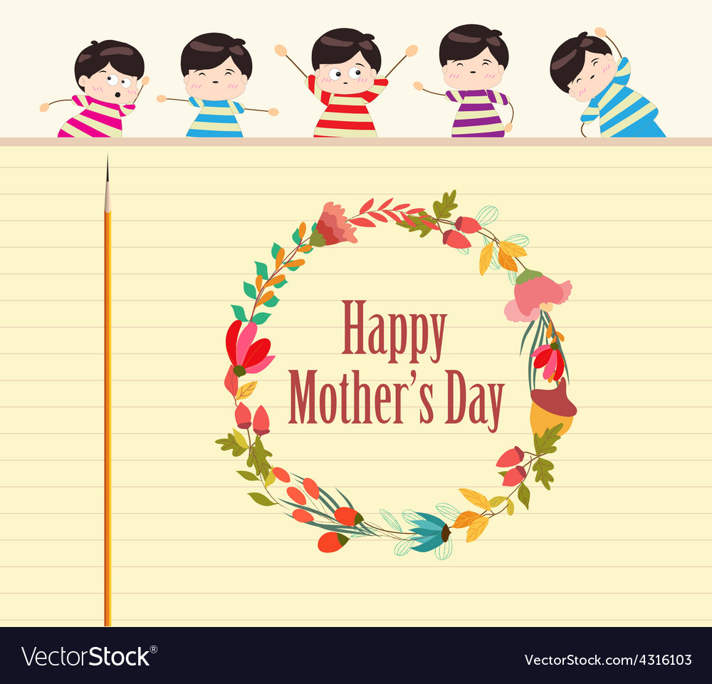 Happy mothers day with wreath and kids vector