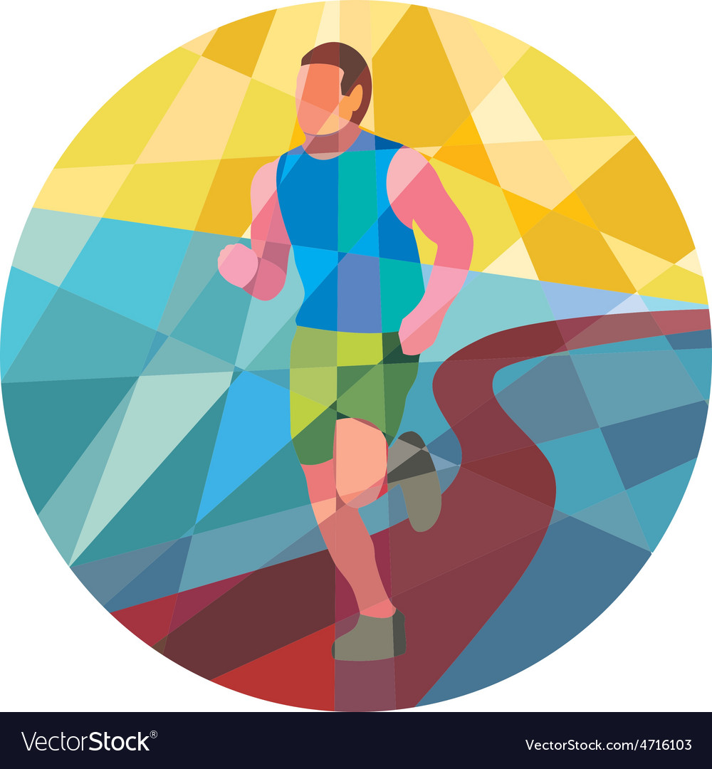 Marathon runner running circle low polygon vector | Price: 1 Credit (USD $1)