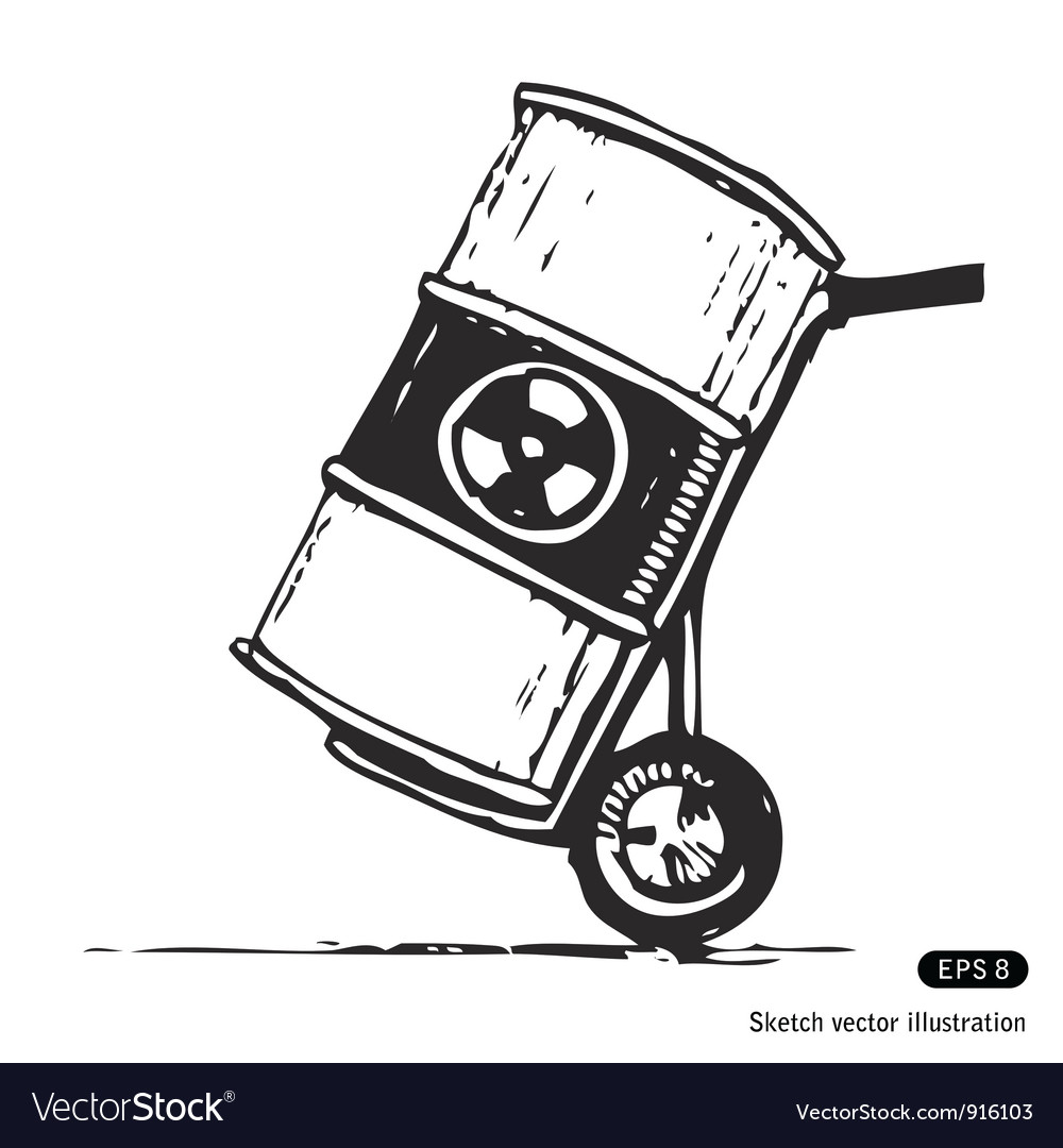Nuclear waste in a barrel vector | Price: 1 Credit (USD $1)