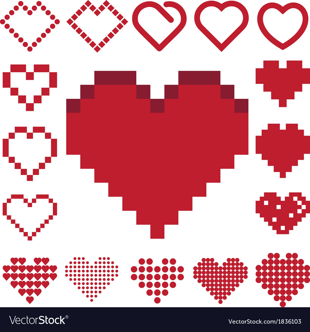 Red heart icon set vector | Price: 1 Credit (USD $1)