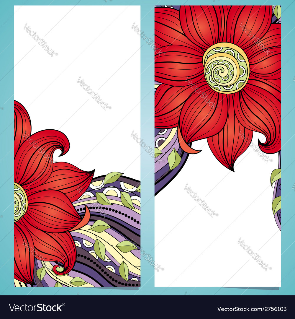 Set of floral banners vector   Price: 1 Credit (USD $1)